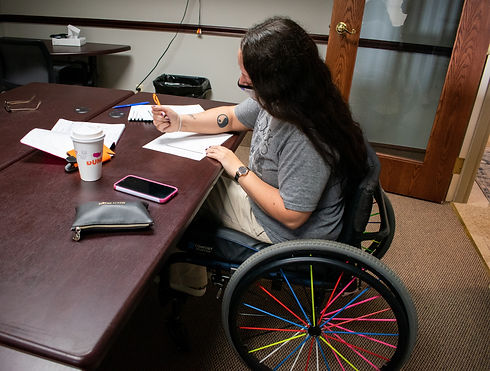 woman with a disability in a wheel chair