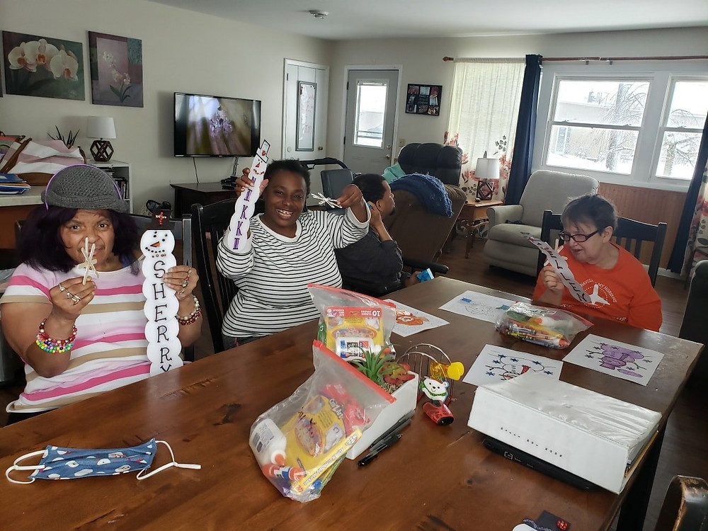 Ability Works STEP group making winter crafts