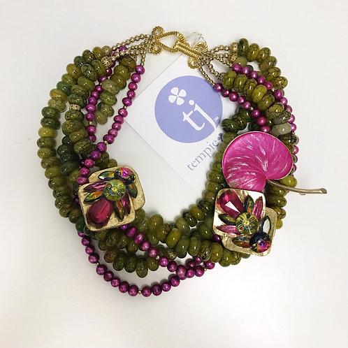 Vintage Hot Pink Ginkgo Leaf Necklace