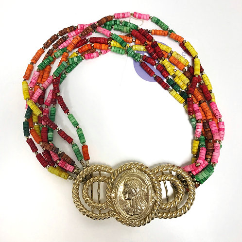 Vintage Tribal Belt Buckle Necklace