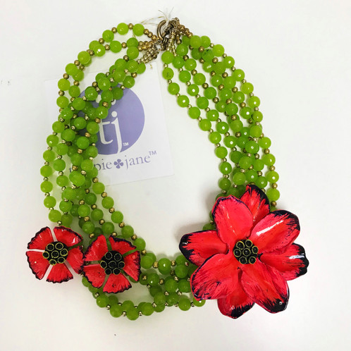 Vintage red paper mache flower necklace mightylinksfo