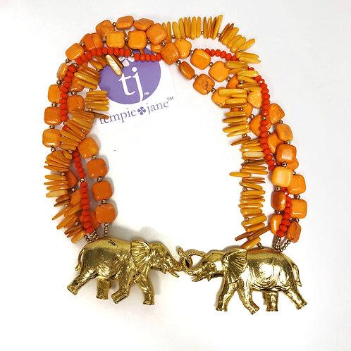 Vintage Elephant Belt Buckle Necklace