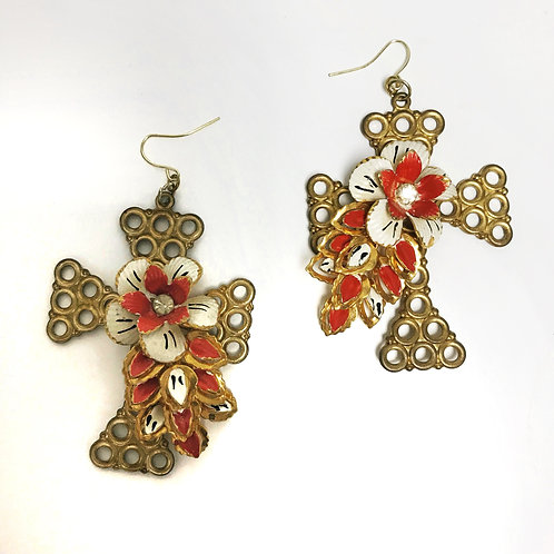 Vintage Cross Stamping Earrings