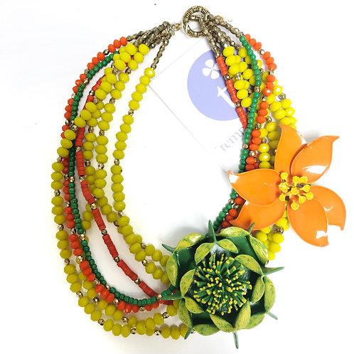 Orange Enamel Brooch and Green Paper Mache Brooch Necklace