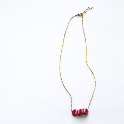 Berry Pink Heishi Bead Necklace