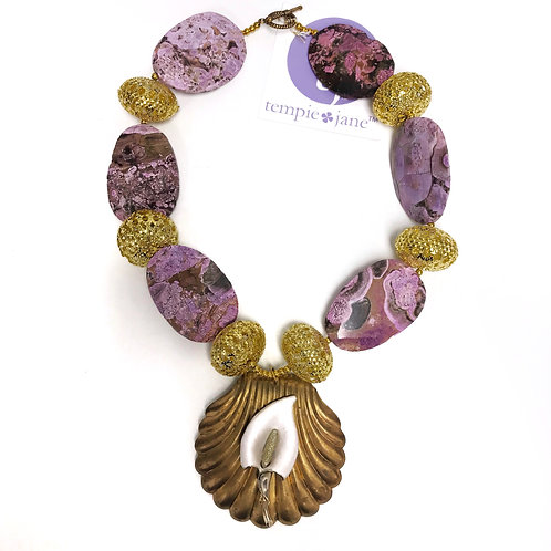 Vintage Purple and Gold Stamping Necklace
