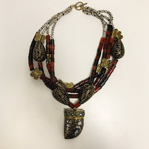 Abstract Tribal Tooth Necklace