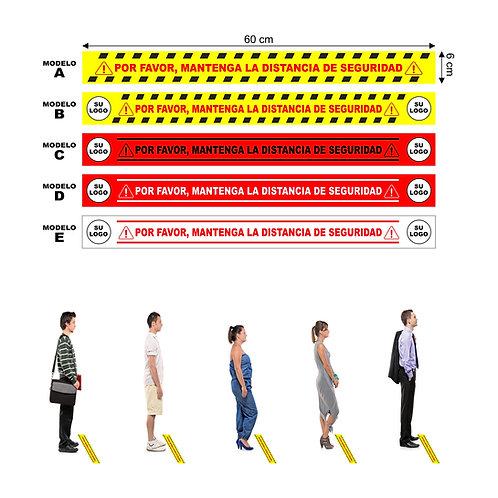 Vinilo señalización suelo de medidas 60x6 cm pack de 6 unidades