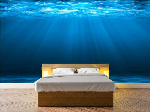 Fotomural en vinilo del fondo del mar con haz de luz