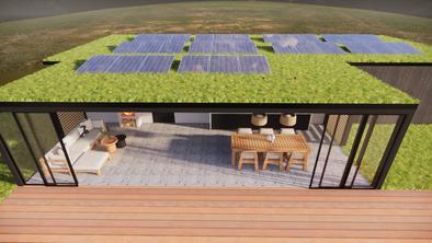 Grasdak met zonnepanelen