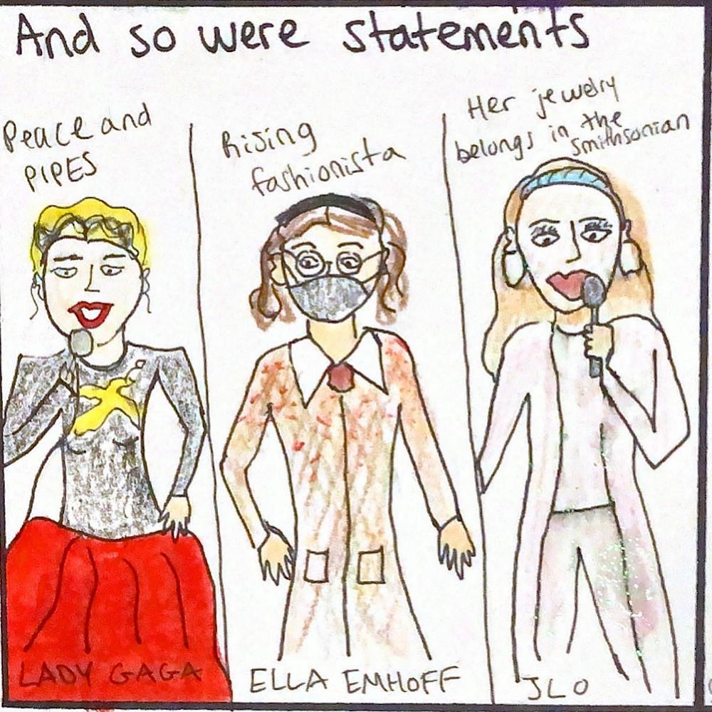 Lady Gaga, Ella Emhoff, and Jennifer Lopez at inauguration.