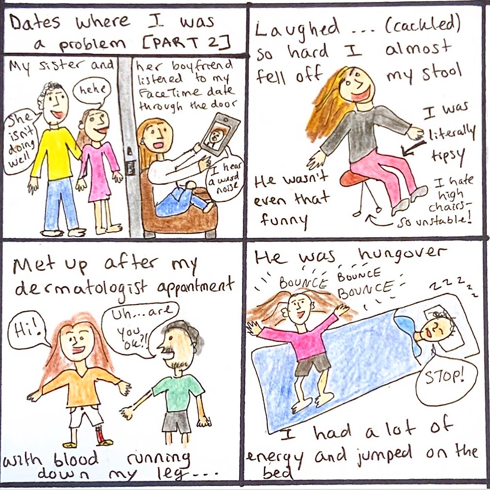 Drawings of me behaving badly on dates - tipsy, no privacy, bleeding, jumping.