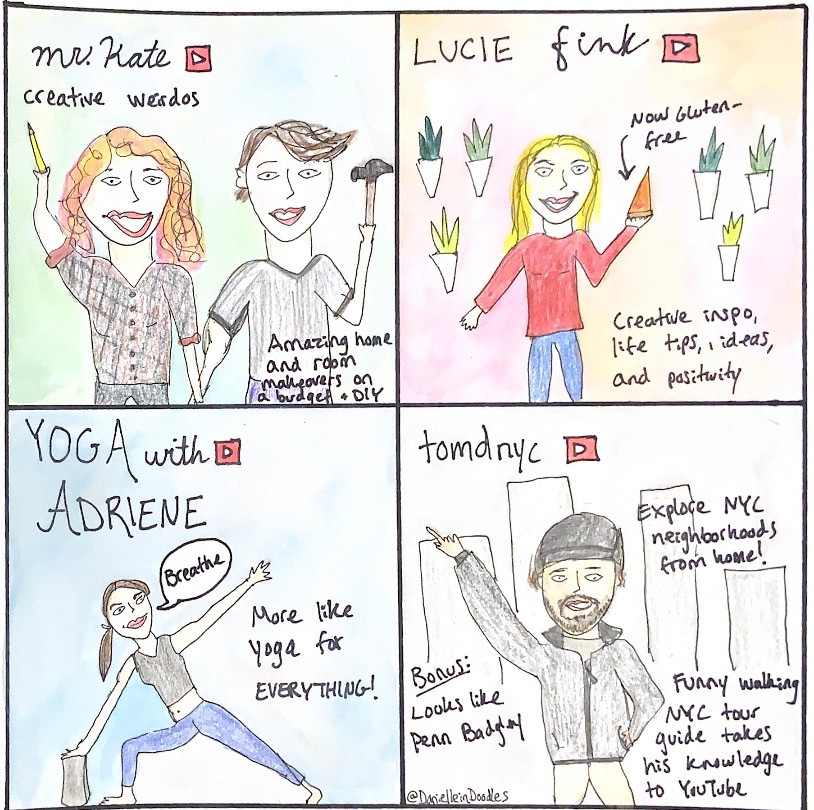 Mr. Kate, Lucie Fink, Yoga with Adriene, and TomdNYC are some of my favorite YouTubers!
