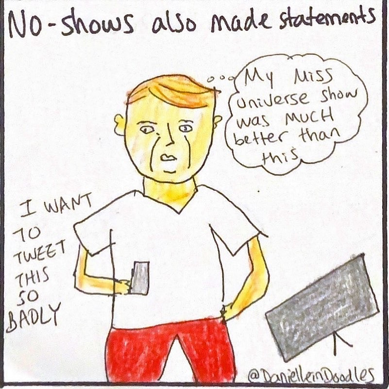 Donald Trump watching the inauguration.