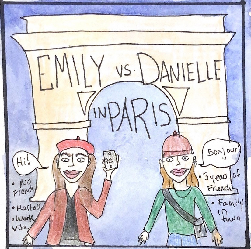 Emily in Paris and me, Danielle, standing in font of the Arc de Triomphe.