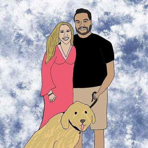 Couple portrait, family illustration, digital portrait