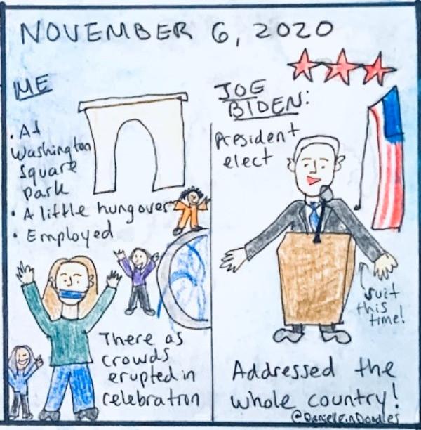 I'm watching a celebration at Washington Square Park and Joe Biden addresses the nation.