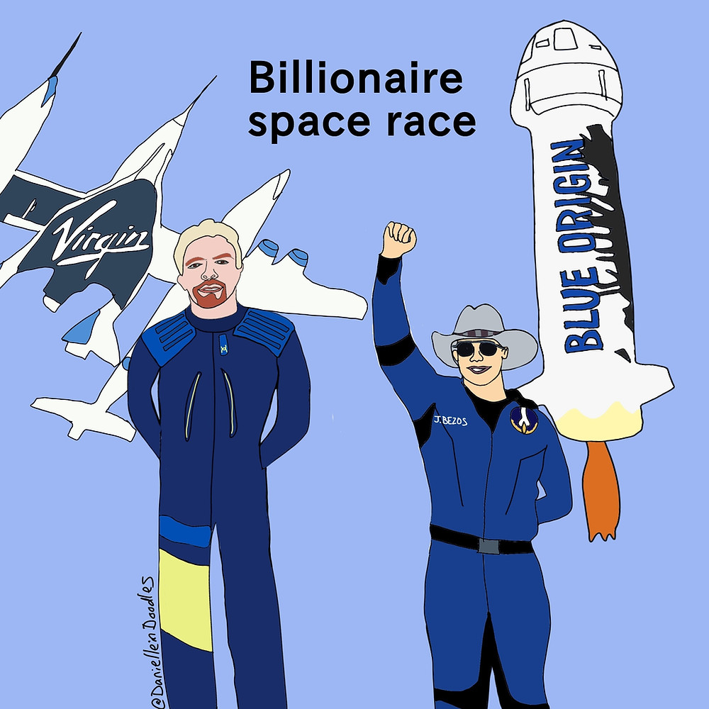 Richard Branson with his Virgin Galactic and Jeff Bezos with Blue Origin will compete in a space race.