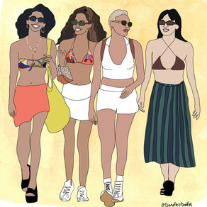 Shirts are out — crop tops are in! I doodled top street styles taken by a Brooklyn photographer.