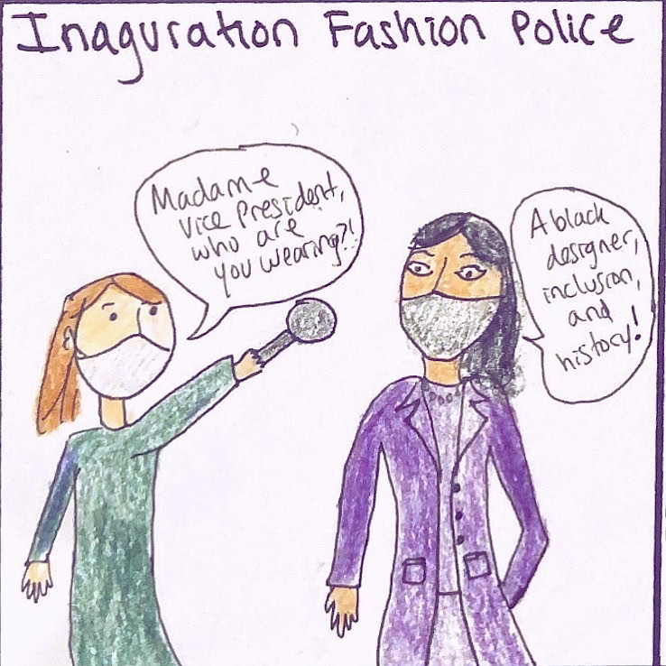 Danielle in Doodles interviews Kamala Harris at inauguration.
