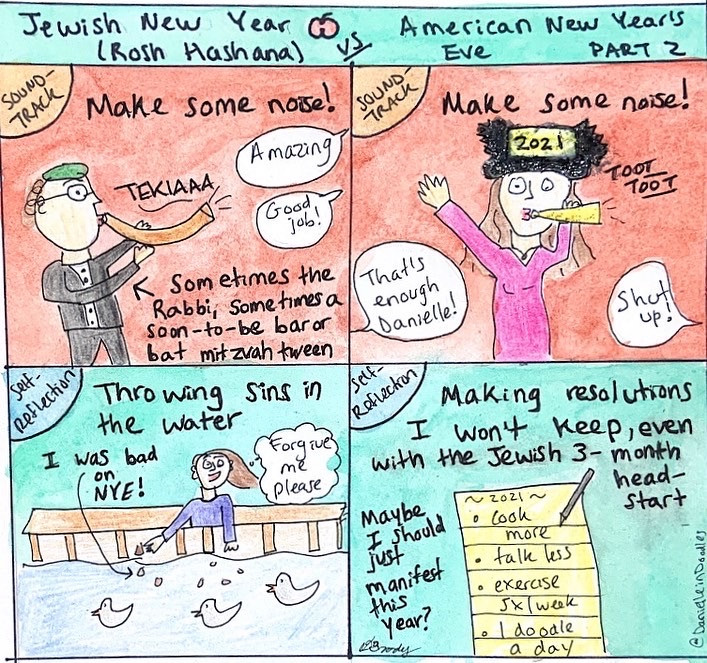 Rosh Hashana - shofar and throwing sins, American New Year's - noisemaker and resolutions.
