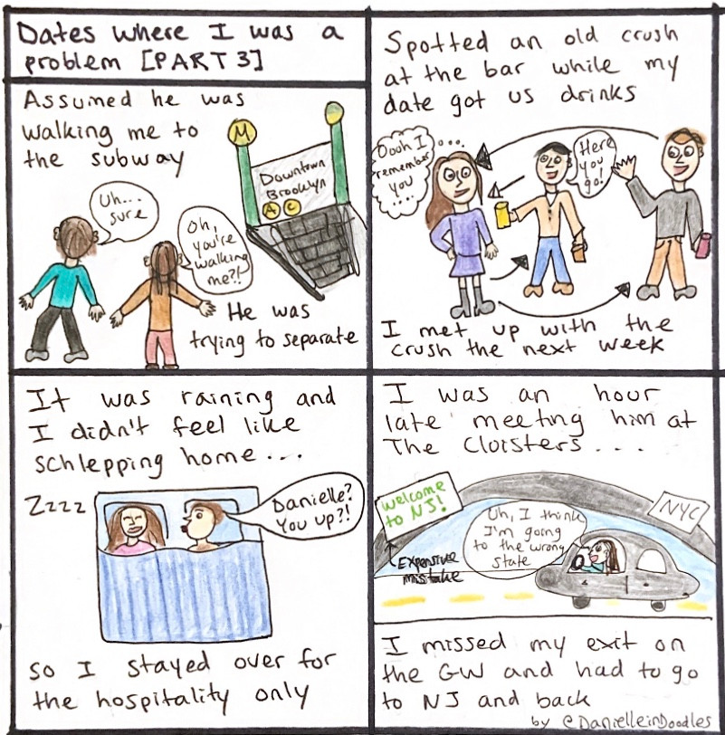 Drawings of me behaving badly on dates - subway, bar, rain, and missed an exit on the bridge.