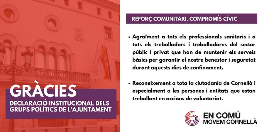 Declaració institucional dels grups polítics de l'ajuntament de Cornellà