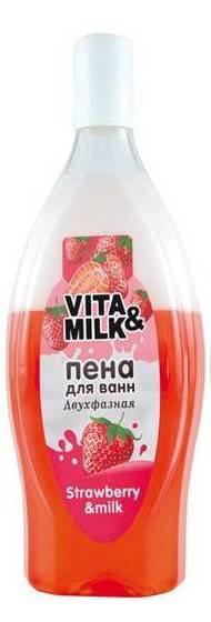 Vita&Milk/Пена двухфазная для ванн Клубника и молоко 850мл, штук