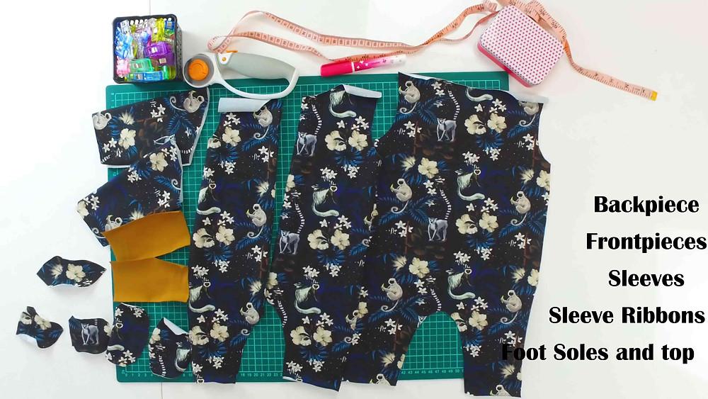 Footed PJ sleepsie sewing pattern pieces Tutorial