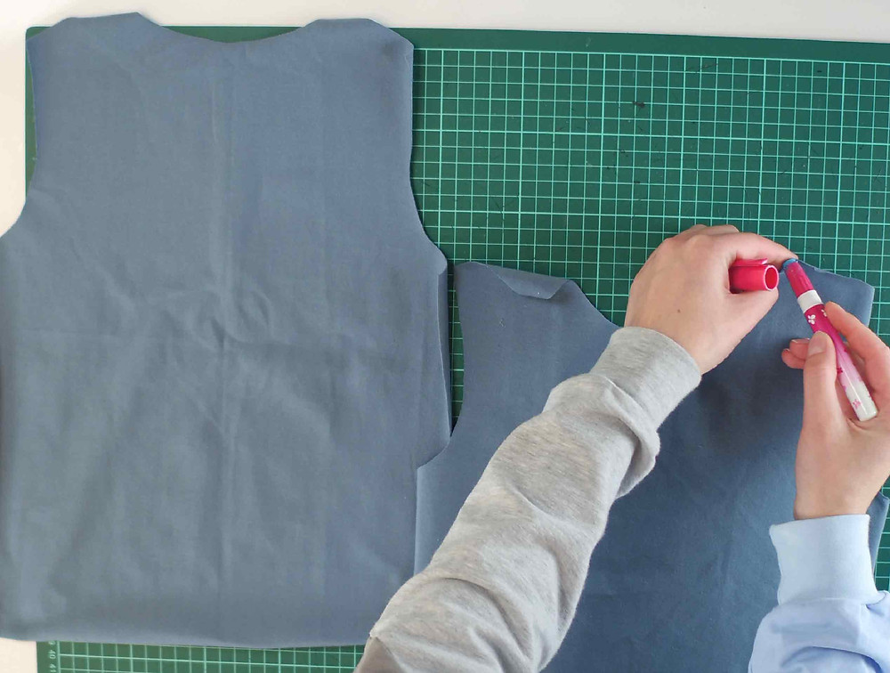 Using a gluepen on the shoulder seams