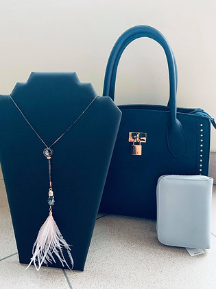 Vintage blue + portefeuille + halsketting