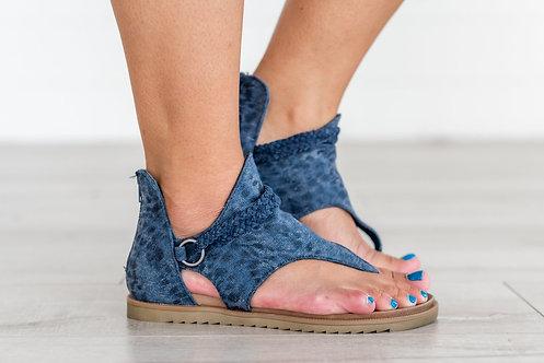 Sariah Leopard Print Sandals -Blue