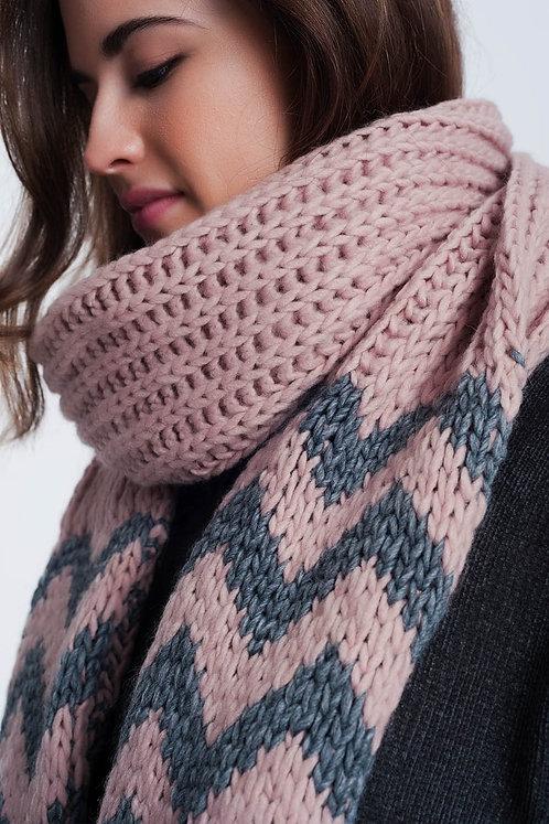 Pink Scarf With Zigzag Stripe