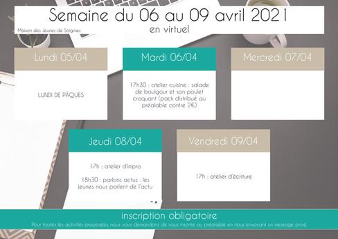 planning 19 - avril 2021