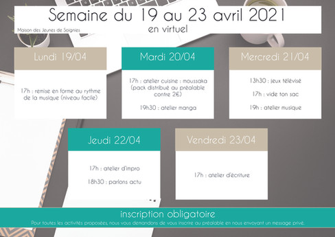 planning 21 - avril 2021
