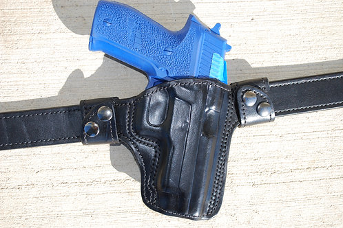 Removable Pancake style leather holster  mid ride