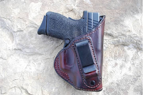 Inside the waist band  leather holster clip style