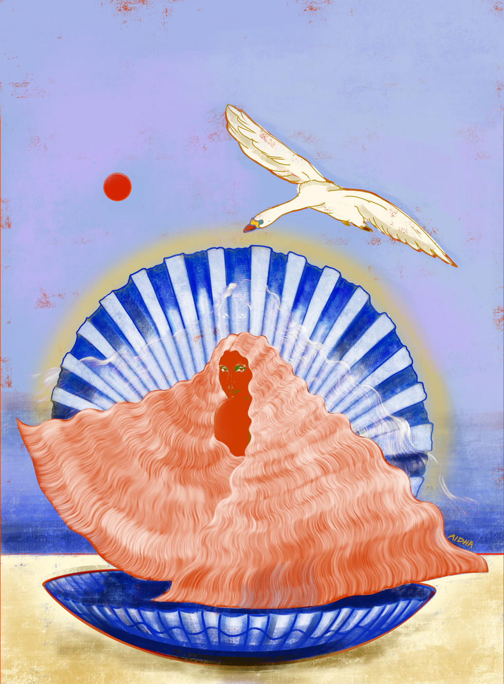 BLIND POINT OF DESIRE II (Woman Bathing Under The Red Sun)