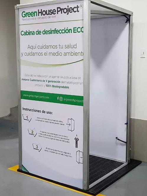 Cabina de desinfección peatonal con nebulizadores de bajo consumo