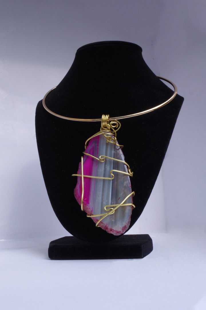 Pink Stone Bead Necklace // $50