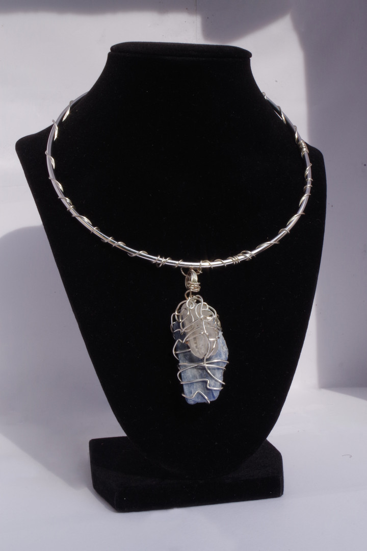Blue Kyanite + Clear Quartz Necklace in Silver // $50