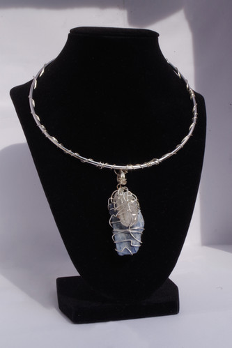 Blue Kyanite + Clear Quartz Necklace in Silver // $50
