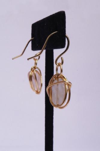 Rose Quartz Earrings Side View // $12