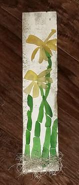 glass daffodils on reclaimed wood
