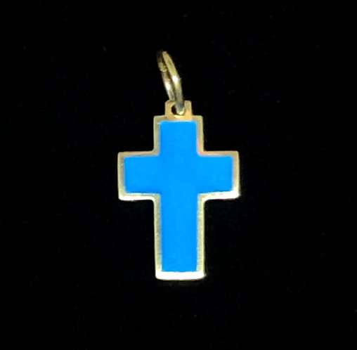 Pendant: cross, small, turquoise