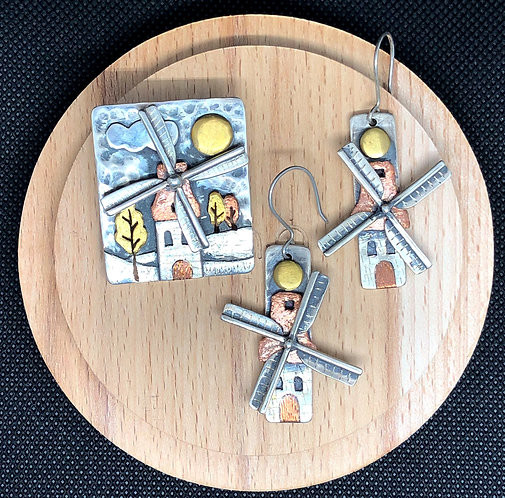 "Set tricolor ""Old mill"" earrings & pendant"
