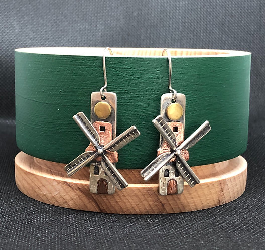 "Earrings tricolor ""Old mill"""