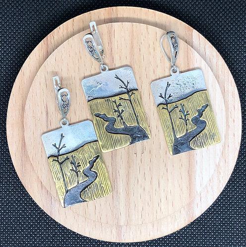 "Set ""Landscape"": Pendant & Earrings"