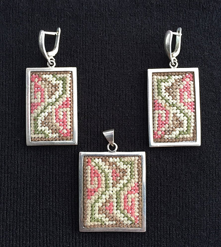 Rectangle pendant & earrings