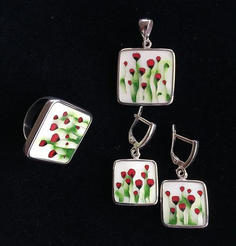 "Set ""Poppies"": pendant, earrings, ring"